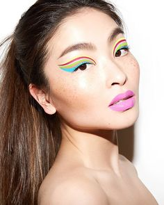 [New] The 10 Best Eye Makeup Ideas Today (with Pictures) - Summertime brights with To create the liner I layered the new liquid eyeliner in Banana Blaze Techno Beet Hottie Alert Hollapeño Papaya Mama and Skinny Dip from and The fun lip is War Paint, Beauty Trends, Cool Eyes, Makeup Addict, Eyeliner, Mua Eyeshadow, Rihanna, Summertime, Makeup Looks