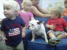 Bob's French bulldog Lily shares the kid-size furniture during Show & Tell at the Mitchell Gold + Bob Williams daycare center at the factory in Taylorsville, NC