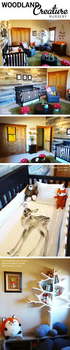 Woodland creature nursery. A rustic nursery for our baby boy featuring foxes, deer, bears, raccoons, and both new and antique furnishings along with some DIY items.