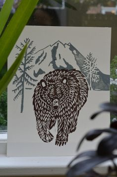 great grizzly bear lino print | Flickr - Photo Sharing!
