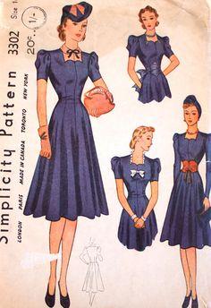 """1930s Sewing Pattern / 1930s Dress Pattern / Simplicity 3302 / Wartime Dress / Bust 34"""" Waist 28"""""""