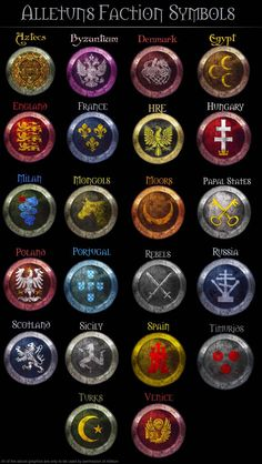 Medieval 2 Faction Symbols by AlLeTuN on DeviantArt Medieval Symbols, Medieval Weapons, Elemental Powers, Elemental Magic, Escudo Viking, Ideas Para Logos, Magia Elemental, Magic Symbols, Fantasy Weapons