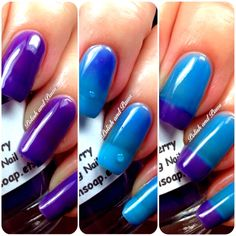 """Free U. Shipping - Color Changing Thermal Nail Polish, Ombre Blue to Purple - Mood Polish - """"Razzleberry""""- Gift for Her - Girlfriend Gift Mood Changing Nail Polish, Color Changing Nails, Mood Polish, Color Change Nail Polish, Nail Colors, Thermal Nail Polish, Glitter Nail Polish, Nail Polishes, Ombre Color"""