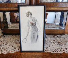 Archie Gunn Illustration Mixed Media Watercolor and Pencil Drawing Girl With Tennis Racket 1913 Preliminary for Postcard Calendar Edwardian