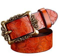 Hot Fashion Wide Genuine Leather Women Belt Vintage Floral Luxury Belts For Women Top Quality Strap For Jeans Ceinture Wide Leather Belt, Leather Buckle, Leather Belts, Cow Leather, Women's Belts, Wide Belts, Jeans Belts, Leather Skin, Real Leather