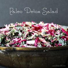 3 large beets, peeled and shredded {makes 2-3 cups}     ½ head green cabbage, finely chopped {makes about 2 cups}     1 bunch dinosaur kale, de-stemmed and shredded {makes about 2 cups}     1/2 cup fresh cilantro, finely chopped     zest of 1 lemon {~1 Tbl}  Detox Salad Dressing  {double recipe for heavier dressing}      2 lemons, juiced {~4 Tbl}     1/3 cup sunbutter {directions below}     1 Tbl fresh ginger, grated     4 Tbl raw unfiltered apple cider vinegar
