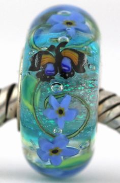 FORGET-ME-NOTS  fits Pandora and Trollbeads bracelets artisan murano glass charm bead. Cored with sterling silver. Made by glass artist Mandy Ramsdell