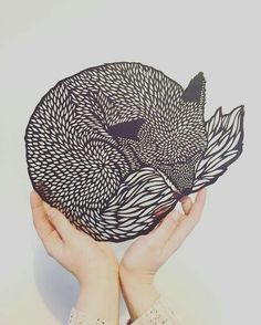 Lino Print: Do You Ever Think About What's Out There? - Linocut, Signed and Numbered Art print, Edition of 100 Kirigami, Papercut Art, Bandeau Crochet, Laser Cutter Projects, Laser Cutter Ideas, Fox Art, Bear Art, Oeuvre D'art, Paper Design