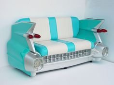 59 Cadillac Sofa in Turquoise - 1959 Cadillac Car Sofa from The Interior Gallery