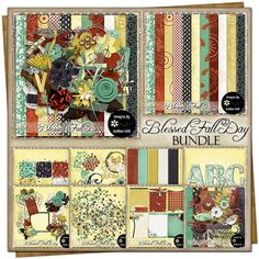 Blessed Fall Day {Bundle} Autumn Day, Fall, Embossed Paper, Customer Appreciation, Free Digital Scrapbooking, Project 365, Grab Bags, Vintage Ephemera, Journal Cards