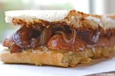 Chicken Sausage, Apple Butter and Fontina Panini with Caramelized Red Onions from www.paninihappy.com