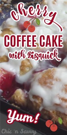 This Cherry Coffee Cake is super easy to make starting with Bisquick. You'll have it mixed up and ready for the oven in a matter of minutes. So delicious! Fruit Recipes, Brunch Recipes, Cake Recipes, Dessert Recipes, Cherry Recipes, Cherry Desserts, Easy Desserts, Delicious Desserts, Bisquick Recipes