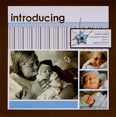 """Introducing"" baby scrapbook layout inspiration"