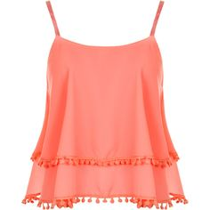 WearAll Strappy Chiffon Tassle Top (€19) ❤ liked on Polyvore featuring tops, shirts, tank tops, tanks, fluorescent pink, see through shirt, pom pom shirts, neon tank tops, red sleeveless shirt and red tank top