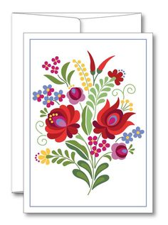 This is an image created in Adobe Illustrator and inspired by the beautiful folk art of Hungary. --Size: 5 x 7 folded card --Includes envelope --Blank inside --Comes in a protective plastic sleeve --Printed on Premium matte card stock Hungarian Tattoo, Hungarian Embroidery, Folk Embroidery, Learn Embroidery, Embroidery Stitches, Embroidery Patterns, Folk Art Flowers, Flower Art, Bordado Popular