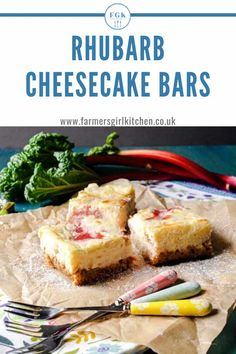 Rhubarb Cheesecake Bars have a crisp oat base topped with rich baked cheesecake with delicious little pieces of roasted rhubarb inside and topped with rhubarb puree, they are so good Easter Recipes, Fruit Recipes, Summer Recipes, Sweet Recipes, Holiday Recipes, Dessert Recipes, Cheesecake Bars, Cheesecake Recipes, Desert Recipes