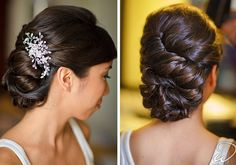 Lovely wedding upstyle and crysta hair comb // via OWDJewelry // #wedding #hair #accessories
