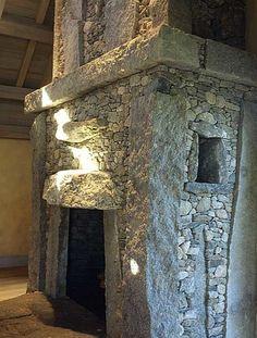 Stone fireplace by Stone Master, Lew French Rock Fireplaces, Rustic Fireplaces, Home Fireplace, Fireplace Design, Fireplace Surrounds, Indoor Fireplaces, Fireplace Mantels, Stone Masonry, Brick And Stone