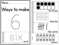 Number flip books for numbers to 20.