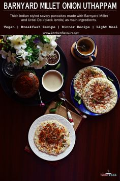 Barnyard Millet Onion Uttapam is a gluten free, protein rich, vegan and plant based comforting and filling millet based breakfast recipe. #yummyfood #glutenfree #vegan #breakfast #healthy #lightmeal Indian Beef Recipes, Goan Recipes, Halal Recipes, Lunch Recipes, New Recipes, Favorite Recipes, Breakfast Healthy, Breakfast Recipes, Breakfast Ideas