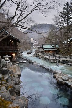 japanese onsen hot springs - places to visit in Japan - Japanese travel destinations - japanese vaction Places To Travel, Places To See, Travel Destinations, Japanese Hot Springs, Japanese Travel, Japanese Architecture, Beautiful Landscapes, National Geographic, Beautiful Places