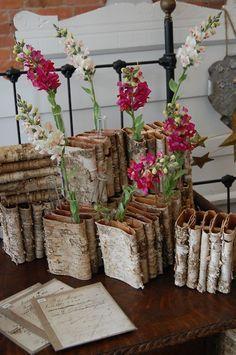 Birch covered vases for vintage, rustic or garden party decor inspiration Tree Bark Crafts, Birch Bark Crafts, Pinterest Crafts, Painted Pots, Flower Show, Nature Crafts, Vintage Roses, Flower Arrangements, Christmas Diy
