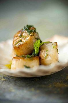 * Grild Scallops with Parsley Butter & Wiskey * Dutch Recipes, Fish Recipes, Healthy Recipes, Vegan Fish, Coquille Saint Jacques, Tapas, I Want Food, Good Food, Yummy Food