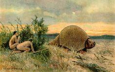 Ilustração: o homem do Paleolítico caçando um gliptodonte. O Paleolítico compreende o período da história que vai de 2,7 milhões de anos até cerca de 10000 a.C. Nesta fase, o homem passou a utilizar a pedra lascada como instrumento principal. Tal mudançafoide suma importância, pois é a partir desse momento que o mesmo passa a se diferenciar dos outros animais, usando sua capacidade racional para produzir suas próprias ferramentas.