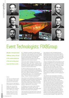 FIX8Group feature Lighting and Sound International september 2015  Lighting and Sound International company profile of FIX8Group