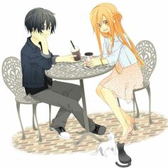 Kirito and Asuna on a date