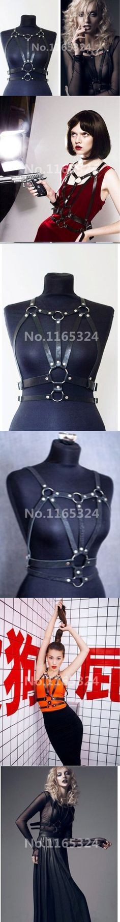 Cool Fashion Handmade Women Punk Gothic Leather Harness Body Bondage Cage Bustier Corset Sculpting Chest Waist Belt