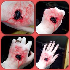 Use yarn for veins, liquid latex as adhesive, black eyeliner for the base of the wound, and top if off with thick blood or fake scab :) Have fun!