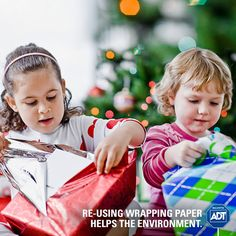 Be resourceful! Re-using wrapping paper helps reduce waste. #Recyling #ReduceReuseRecycle #Holiday #Gifts #ADT #AlwaysThere