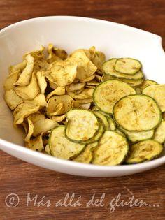"Más allá del gluten...: ""Chips"" de Batata y Zucchini (Receta SCD, GFCFSF, Vegana, RAW) // Healthy homemade 'chips' out of Zucchini, [Gluten free]"