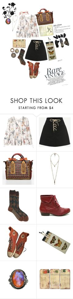"""""""#50"""" by amelia-is-violet on Polyvore featuring Rebecca Taylor, WithChic, Dsquared2, Love Heals, Antipast, Moleskine, Converse, Tag and CO"""