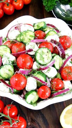 Eating this Tomato Cucumber and Mozzarella Salad makes me think of that kid in the candy store. When mealtime ends, you find yourself picking up the fork again and jabbing the individual ingredients in the salad. Just because they're cute! #salad #tomatoes #cucumber #valyastasteofhome   www.valyastasteofhome.com Easy Salad Recipes, Easy Salads, Vegetarian Recipes, Healthy Recipes, Tomato Mozzarella Salad, Creamy Cucumbers, Salad Ingredients, How To Make Salad, Amazing Recipes
