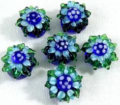 Pair 2 pieces Fused Glass FLOWER Beads  Realistic by ButtonOdyssey, $4.99