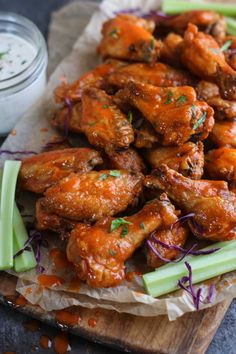 Crispy Baked Buffalo Wings - The Real Food Dietitians Paleo Whole 30, Whole 30 Recipes, Real Food Recipes, Healthy Recipes, Healthy Sauces, Paleo Ideas, Healthy Dishes, Clean Recipes, Keto Recipes