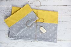 KraftKids Bettwäscheset weiße Anker auf Grau und weiße Punkte auf Gelb 100 x 135…
