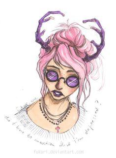красивая девушка, розовые рога, нежность, арт, рисунок, лицо, art, girl, face