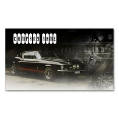 red line in black classic car business card