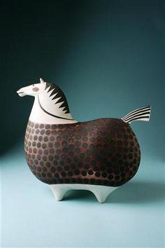 ceramic horses designed by stig lindberg for gustavsberg , sweden, in the via modernity . remakes of victorian rocking horses, fo. Horse Art, Pottery Sculpture, Ceramic Sculpture, Sculpture Art, Animal Art, Animal Sculptures, Stig Lindberg, Ceramics, Art