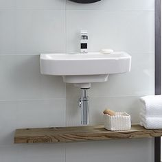 DXV Lyndon Wall-Hung Bathroom Sink Room Scene- Canvas White
