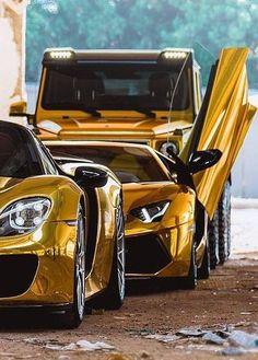 Porsche 918 Spyder, Lamborghini Aventador and Mercedes G-class Gold