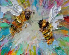Original Spring Bees palette knife painting by Karensfineart