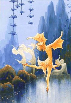 """Rudolf Koivu (Finnish, """"And the tiniest of the goldfishes danced a solo"""" from 'The Goldfish' & 'Princess in the Great Forest' Vintage Book Art, Fairy Paintings, Fairytale Art, Merfolk, Magical Creatures, Faeries, Pretty Pictures, Cute Art, Illustrations Posters"""