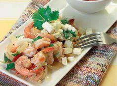 This Greek dish recipe uses the sweeter suwahe variety of shrimps.
