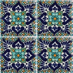 This beautiful patterned decorative Traditional Talavera Tile is a hand-made and hand-painted rustic tile carefully created by craftsman families in Mexico. Traditional Talavera tile is made with two