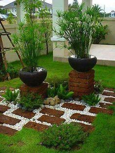 Backyard Garden Design How To Make and Rock Garden Ideas Tutorials. Brick Garden, Garden Paths, Garden Art, Garden Edging, Diy Garden, Terrace Garden, Garden Kids, Spring Garden, Garden Planters