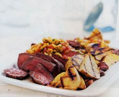 Grilled Sirloin with Roasted Corn Salsa - This is a delicious, late summer recipe that is good to have on hand when you want to impress your friends. The ingredients are simple and fresh and the recipe is easy to prepare. The smoky, spicy salsa is lively and really makes the dish. http://sunsetfoods.com/